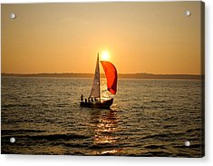 Sunset Over Narragansett Bay Acrylic Print by Allan Millora