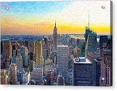 Sunset Over New York City Acrylic Print by Mark E Tisdale