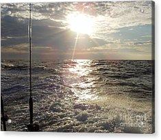 Sunset Over Nj After Fishing Acrylic Print by John Telfer