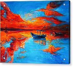Sunset Over Ocean Acrylic Print by Ivailo Nikolov