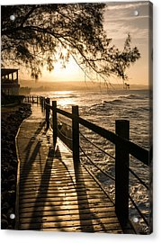 Sunset Over Ocean Walkway Acrylic Print