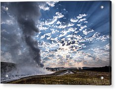Sunset Over Old Faithful - Horizontal Acrylic Print by Andres Leon