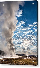 Sunset Over Old Faithful - Vertical Acrylic Print by Andres Leon