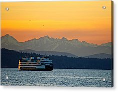 Sunset Over Olympic Mountains Acrylic Print