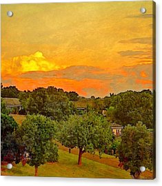 Sunset Over Orchard - Square Acrylic Print