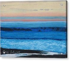 Sunset Over Pacfic Ocean Surf Acrylic Print