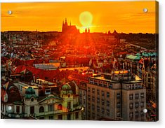 Sunset Over Prague Acrylic Print by Midori Chan