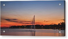 Sunset Over Storm Lake Acrylic Print by T C Hoffman
