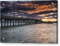 Sunset Over The Drawbridge Acrylic Print by Fran Gallogly