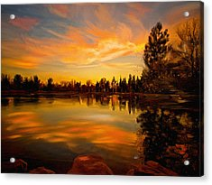 Sunset Over The Lake Acrylic Print by Angela A Stanton