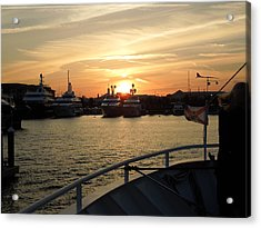 Acrylic Print featuring the photograph Sunset Over The Marina by Ron Davidson