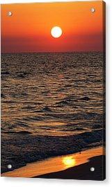 Sunset Over The Ocean And A Beach Acrylic Print