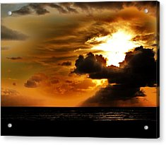 Sunset Over The Pacific I Acrylic Print by Helen Carson