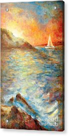 Sunset Over The Sea. Acrylic Print