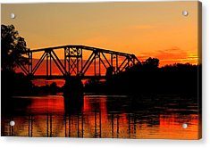 Sunset Over The Taylor Bridge Acrylic Print by Larry Trupp