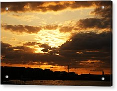 Sunset Over The Thames From Greenwich Acrylic Print