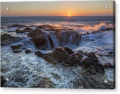 Sunset Over Thor's Well Along Oregon Coast Acrylic Print