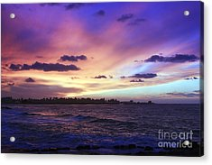 Acrylic Print featuring the photograph Sunset Over Town And Sea Water by Mohamed Elkhamisy