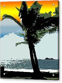 Sunset Palm Acrylic Print by Karen Nicholson