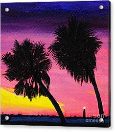 Sunset Palms At Fort Desoto Acrylic Print