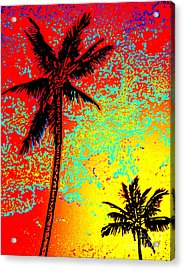 Acrylic Print featuring the photograph Sunset Palms by David Lawson