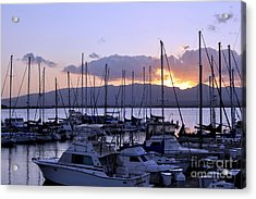 Acrylic Print featuring the photograph Sunset Pearl Harbor by Gina Savage