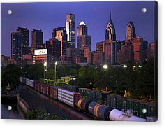 Philly Sunset  Acrylic Print by Kenny  Noddin