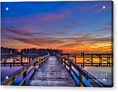 Sunset Pier Fishing Acrylic Print