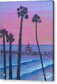 Acrylic Print featuring the painting Sunset Pier by Mary Scott
