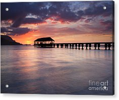 Sunset Pier Acrylic Print by Mike  Dawson