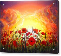 Acrylic Print featuring the painting Sunset Poppies by Lilia D
