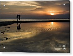 Sunset Reflection And Silhouettes Acrylic Print by Daliana Pacuraru