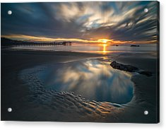 Sunset Reflections In San Diego Landscape Version Acrylic Print
