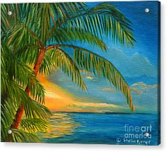 Acrylic Print featuring the painting Sunset Reflections - Key West Sunset And Palm Trees by Shelia Kempf