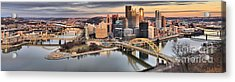 Sunset Reflections Of Pittsburgh Acrylic Print by Adam Jewell