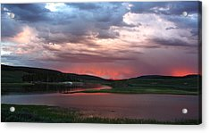 Sunset Reflections Over Yellowstone River In Hayden Valley Acrylic Print