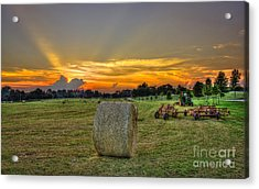 Hardwork Hayfield Sunset Art Acrylic Print by Reid Callaway