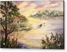 Acrylic Print featuring the painting Sunset Retreat by Roxanne Tobaison
