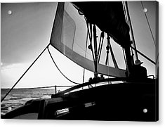 Acrylic Print featuring the photograph Sunset Sail In Black And White by Pamela Blizzard