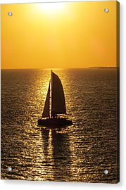 Acrylic Print featuring the photograph Sunset Sail by Jennifer Wheatley Wolf