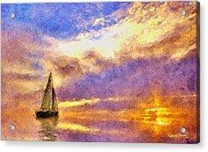 Sunset Sail Acrylic Print by Wayne Pascall