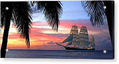 Sunset Sailboat Filtered Acrylic Print