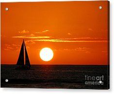 Acrylic Print featuring the photograph Sunset Sailing by Kristine Merc