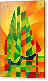 Acrylic Print featuring the painting Sunset Sails And Shadows by Tracey Harrington-Simpson