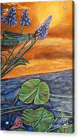 Sunset Setting Over A Dragonfly On A Water Lily Pond Acrylic Print by Kimberlee Baxter