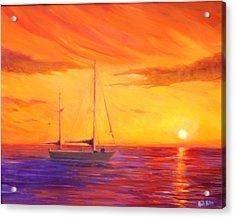 Sunset Ship Acrylic Print by Rich Kuhn