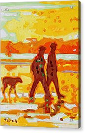 Sunset Silhouette Carmel Beach With Dog Acrylic Print