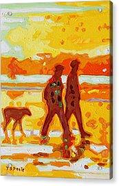 Sunset Silhouette Carmel Beach With Dog Acrylic Print by Thomas Bertram POOLE