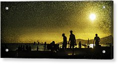 Acrylic Print featuring the photograph Sunset Silhouette Of People At The Beach by Peter v Quenter