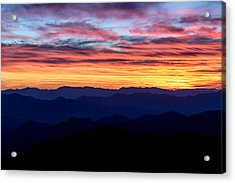 Sunset Silhouette On The Blue Ridge Parkway Acrylic Print by Andres Leon
